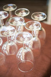A lot of wine glasses in restaurant Royalty Free Stock Photography