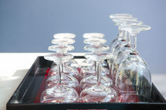 A lot of wine glasses in restaurant Royalty Free Stock Image