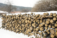 A lot of wood material. Stored wood material outside on the snow Stock Photography