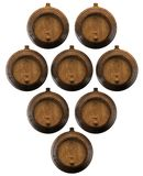 Lot of wooden barrels. For wine. 3D illustration Royalty Free Stock Images