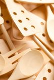 A lot of wooden spoons Stock Photos