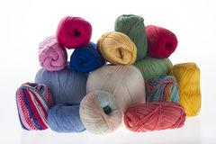 Lot of yarns for needel work  on white Royalty Free Stock Photos