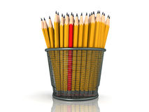 Lot of yellow pencils with red one Royalty Free Stock Image