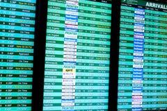 Lota ewidencyjnego pokazu ekrany przy lotniskiem Zdjęcia Royalty Free