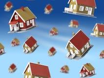 Lote das casas que caem do céu. ilustração do vetor