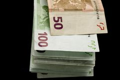 Lote de euro- contas fotografia de stock