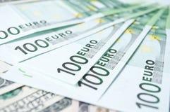 Lote de euro en efectivo Fotos de archivo
