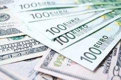 Lote de euro en efectivo Fotografía de archivo