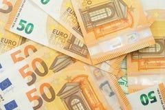 Lote de euro- notas de banco Imagem de Stock