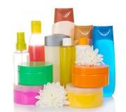 Lote de produtos cosméticos diferentes para pessoal Imagens de Stock Royalty Free