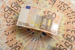 Lote do dinheiro cinqüênta notas de banco dos euro Imagem de Stock