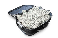Lote do dinheiro em uma mala de viagem Fotografia de Stock