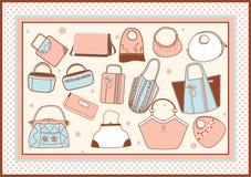 Lote dos vários sacos fêmeas quadro Fotos de Stock Royalty Free