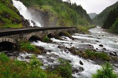 Lotefossen vattenfall Arkivbild