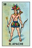Lotería Mexicana - El apache - High resolution image. High resolution image of Mexican Lottery character El Apache. Illustration of man dressed as an indian royalty free illustration
