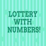 Loterie conceptuelle d'apparence d'écriture de main avec des nombres Jeu de hasard des textes de photo d'affaires dans quel achat illustration libre de droits