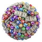 Loterijballen en stapel dollars op witte achtergrond worden geïsoleerd die Stock Foto