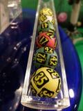 Loterijballen tijdens extractie Stock Fotografie