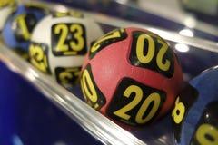 Loterijballen tijdens extractie Royalty-vrije Stock Foto's