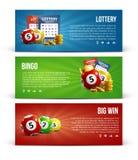 Loterijbanners met realistisch de muntstukkenkaartje van pictogrammenballen Stock Foto