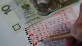 Loterijkaartje stock footage