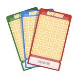 Loterijkaartjes Kans om de pot te winnen Het gokken in het casino Kasino enig pictogram in het vectorsymbool van de beeldverhaals Stock Foto's