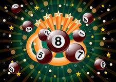 Loteryjek piłki z rozbudzać tło royalty ilustracja