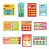 Loteryjnego bileta bingo karty wygrany loteryjki wektorowej szczęsliwej przygodnej gemowej najwyższej wygrany ustaleni ilustracyj ilustracji