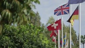 Lotes das bandeiras dos países diferentes que vibram no vento vídeos de arquivo