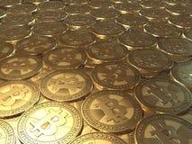 Lotes das moedas Bitcoin Fotos de Stock