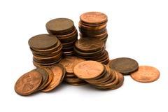 Lotes das moedas de um centavo Imagens de Stock Royalty Free