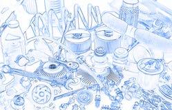 Lotes das peças do carro, esboço Fotografia de Stock