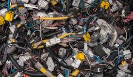 Lotes de vários cabos e conectores imagem de stock royalty free
