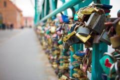 Lotes em uma ponte em wroclaw Fotografia de Stock