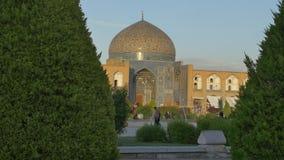 Lotfollah moské Isfahan på solnedgången lager videofilmer