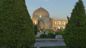Lotfollah moské Isfahan på solnedgången arkivfilmer