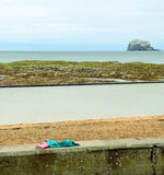 Lothian Coast with The Bass Rock and Forgotten Clothes. Seacoast in Lothian - region in south Scotland with The Bass Rock in backround. The Bass Rock is an Royalty Free Stock Images