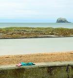 Lothian kust med Bass Rock och den glömda kläderna Royaltyfria Bilder
