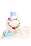 Lotion bottle with seashells Stock Image