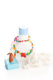 Lotion bottle with seashells Stock Photo