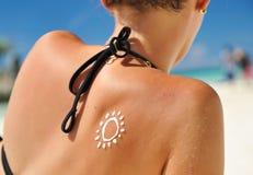 Lotion de protection solaire Photographie stock