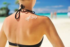 Lotion de protection solaire Images libres de droits