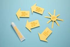 Lotion de SPF de facteur de protection de Sun Cr?me de protection solaire, bloc solaire images libres de droits