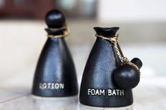 lotion för gel för badhuvuddelflaska Royaltyfri Fotografi