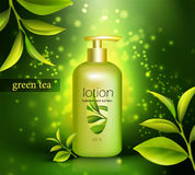 Lotion With Green Tea Illustration Stock Photography