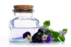 Lotion of pansies and violets stock photo
