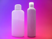 Lotion series 3. 2 unlabelled bottles of lotion on a very bright lit background. Add your own lables Stock Images
