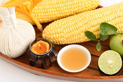 Lotion to reduce dark spots with corn, lemon and honey. Royalty Free Stock Image