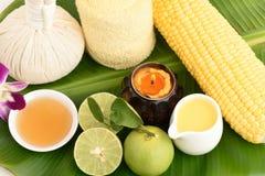 Lotion to reduce dark spots with corn, lemon and honey. Royalty Free Stock Photo