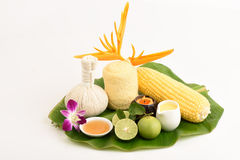 Lotion to reduce dark spots with corn, lemon and honey. Stock Image